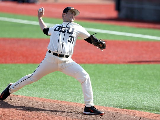 Oregon State's Kevin Flemer pitches against California during their game Sunday, May 24, in Corvallis.
