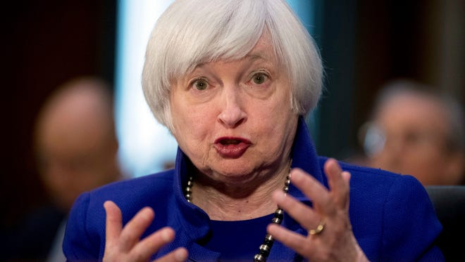 FILE - In this Tuesday, Feb. 14, 2017, file photo, Federal Reserve Chair Janet Yellen testifies on Capitol Hill in Washington, before the Senate Banking Committee. The Fed seems all but sure to raise rates during the week of Monday, March 13, 2017, and to signal that more hikes are likely coming. Fed watchers appear buoyed by signs of a stronger economy than worried about whether slightly higher rates might slow growth. (AP Photo/Andrew Harnik, File)