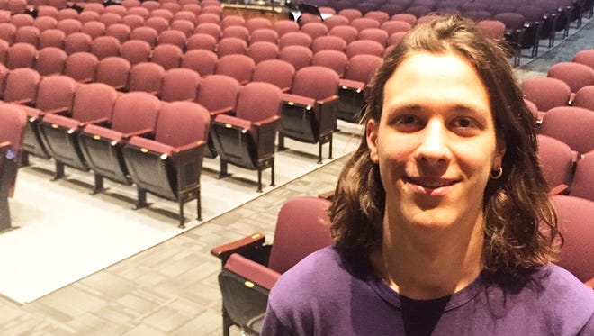 """Zach Pearson, a senior at Hastings High School, says the school's newly renovated theater is his go-to place in school, if only for a few more precious months. He played George Gibbs in """"Our Town"""" last November, the first show to be staged in the renovated space, which now has new lighting, sound, acoustic and infrastructure improvements."""