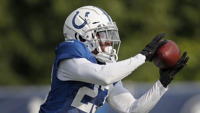 Indianapolis Colts cornerback Kenny Moore (23) makes a catch during their eighth day of training camp at Grand Park in Westfield on Friday, August 3, 2018.