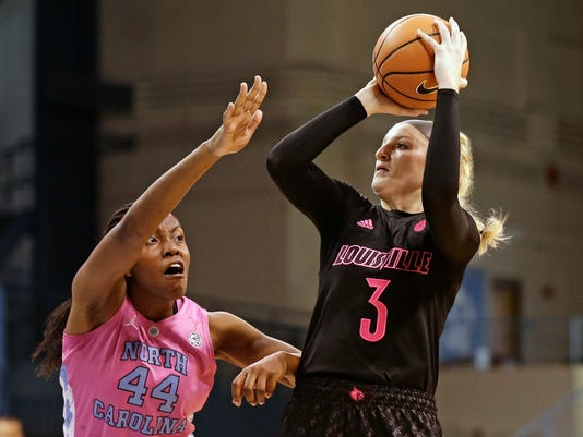 North Carolina's Janelle Bailey (44) guards Louisville's Sam Fuehring during the first half of an NCAA college basketball game in Chapel Hill, N.C., Sunday, Feb. 18, 2018. (AP Photo/Gerry Broome)