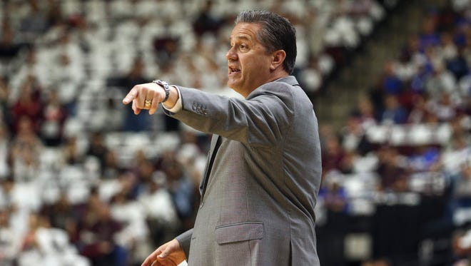 Mar 4, 2017; College Station, TX, USA; Kentucky Wildcats head coach John Calipari reacts after a play during the first half against the Texas A&M Aggies at Reed Arena.