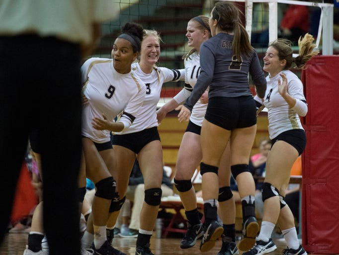 Central High School celebrates their 3-2 win against