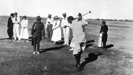 In this picture George Lewis tees off on the original San Marcos golf course in 1913.