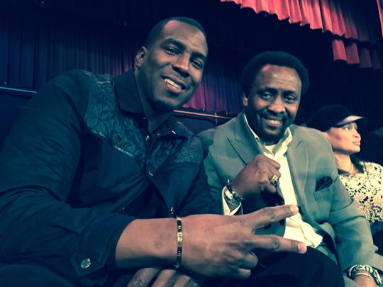 Chargers tight end Antonio Gates and boxing legend Tommy Hearns at the boxing matches, promoted by Gates, Friday at Masonic Temple.