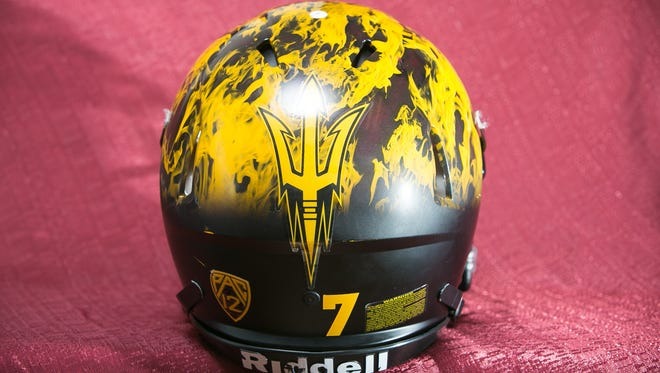 An ASU football helmet at the Carson Athletic Center near Sun Devil Stadium in Tempe on Tuesday, June 4, 2014.