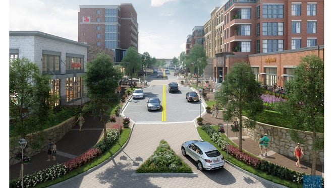 This rendering from developer RocaPoint shows the view of a proposed redevelopment of Greenville County's University Ridge property from the traffic circle at the entrance of the South Carolina Governor's School for the Arts and Humanities.