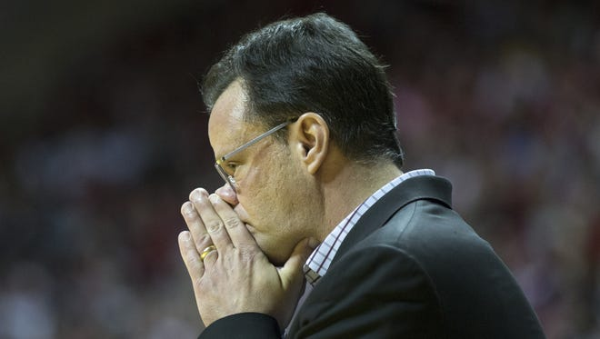 Tom Crean, Head Coach of Indiana, Michigan at Indiana men's basketball, Assembly Hall, Bloomington, Sunday, February 12, 2017.  Indiana lost 63-75.