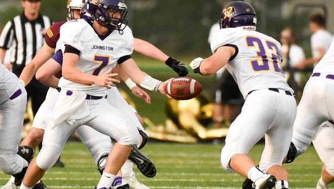 With a 2-0 start, Jared Bacon (7) and Grant Gossling (32) have helped Johnston become one of Iowa's more surprising unbeaten teams entering Week 3.