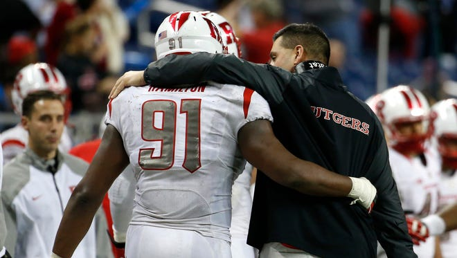 Darius Hamilton is back at Rutgers football practice, inching closer to a return to full health.