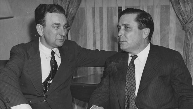 In a June 12, 1940 file photo, Wendell Willkie (right), the Republican presidential nominee, conferred with Rep. Charles Halleck (R-Ind) (left), who placed Willkie's name before the Republican National Convention.