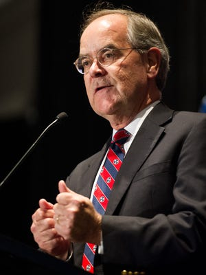 Rep. Jim Cooper, D-Nashville, announces his victory during the Democratic watch party at the Loews Vanderbilt Hotel, Tuesday, Nov. 8, 2016, in Nashville, Tenn.