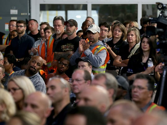Orion Assembly Plant workers listen to GM Chairwoman and CEO Mary Barra talk about the autonomous Chevrolet Bolt that's being built at their plant  in Orion Township on June 13, 2017.