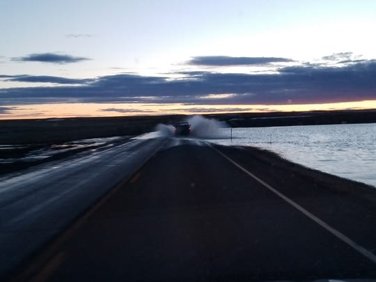 Blake Wombold encountered four places where flood water was over Highway 2 between Havre and Shelby Tuesday night.
