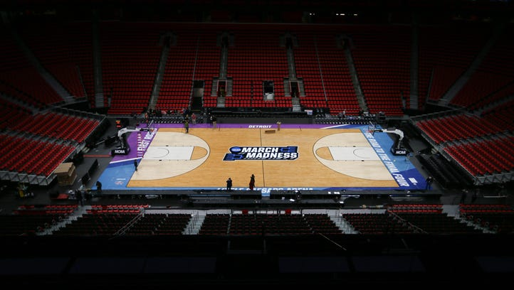 NCAA tournament court unveiled at Little Caesars Arena