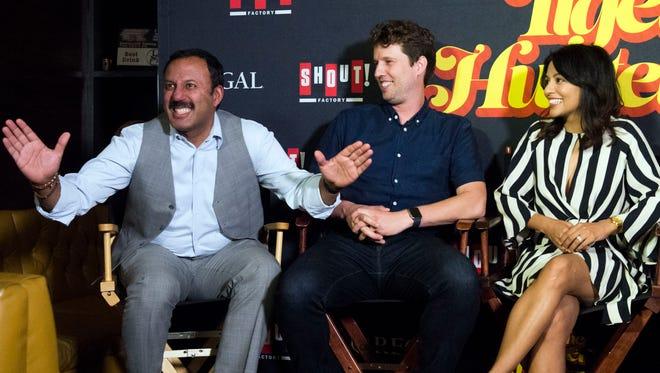 "From left, actors Rizwan Manji, Jon Heder, and Karen David discuss their film, ""The Tiger Hunter."""