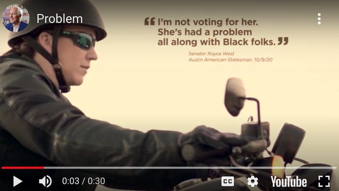 """A screenshot from the Cornyn campaign's new ad, """"Problem."""""""