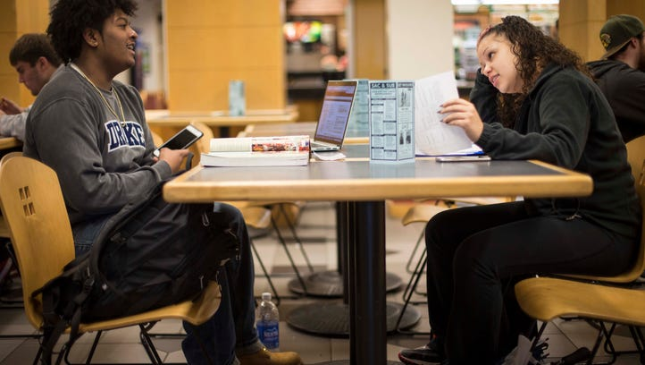 Iowa State sophomore Michael Hardat, left, studying with Sebrina Dixon, a North High grad, on the campus April 7, 2016, in Ames, Iowa. Hardat grew up in the Drake neighborhood, attending Moulton classes and after-school activities at the Children and Family Urban Movement, a nonprofit based in a historic church across the street.