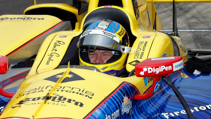 May 16, 2016; Indianapolis, IN, USA; Verizon Indy Car driver Townsend Bell sits in his car during practice for the Indianapolis 500 at Indianapolis Motor Speedway. Mandatory Credit: Brian Spurlock-USA TODAY Sports ORG XMIT: USATSI-269124 ORIG FILE ID:  20160516_pjc_ss1_113.JPG