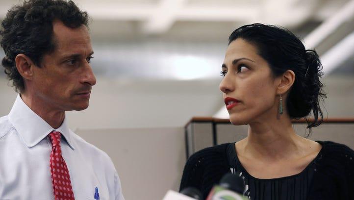 Huma Abedin and former congressman Anthony Weiner speak
