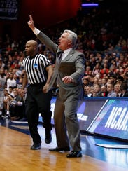 Kansas State head coach Bruce Weber reacts to a play