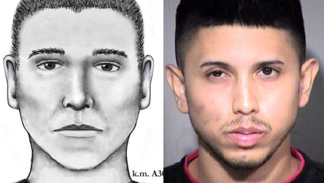 Police released this sketch of the serial street shooter (left) on July 14, 2016. Aaron Juan Saucedo, 23, was arrested May 8, 2017, in connection with the crimes.