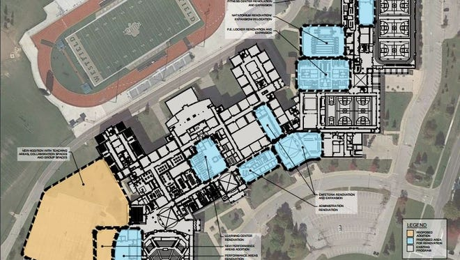Initial renovation and expansion plans for Westfield-Washington Schools, should the $90 million construction referendum pass on May 2.