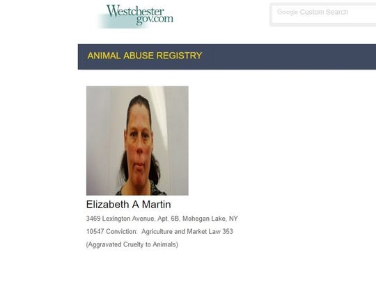 The Westchester County animal abuse registry listed