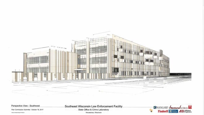 The artist rendering above shows the exterior look of the new Southeast Wisconsin Law Enforcement Center that will house a new state crime laboratory in Wauwatosa for this part of the state. The facility may be up and running by early 2020.
