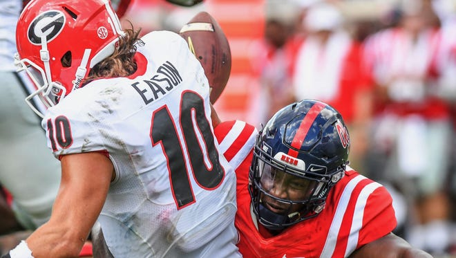 Ole Miss defensive lineman Garrald McDowell recorded one of three sacks on UGA quarterback Jacob Eason on Saturday.