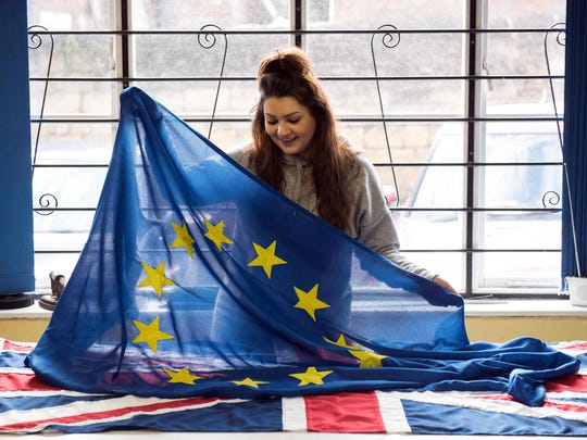 At a flag-making workshop in northern England, orders for Unions Flags are flying while the EU's blue-and-yellow standard is proving less and less popular. Flying Colours, which makes flags for Britain's royal palaces, has seen EU flag orders drop by 90 percent since the country voted to leave the bloc in 2016.