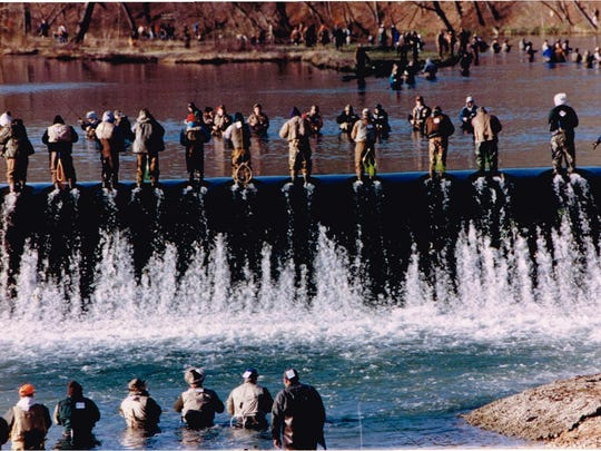 A view of an March 1 opening day of the trout season at Bennett Spring.