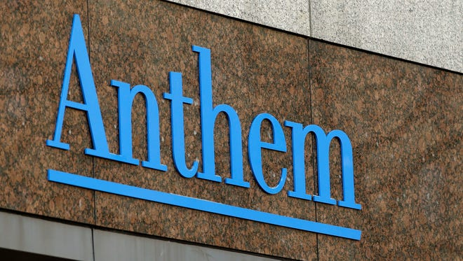This Dec. 3, 2014, file photo shows the Anthem logo at the company's corporate headquarters in Indianapolis.