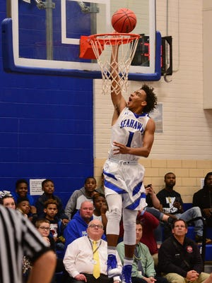 Stephen Decatur's Kevon Voyles with the steal and the dunk against Atholton High School on Tuesday, Feb. 28th.
