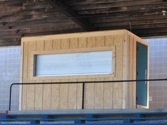The old press box atop the canopy at McBride Stadium