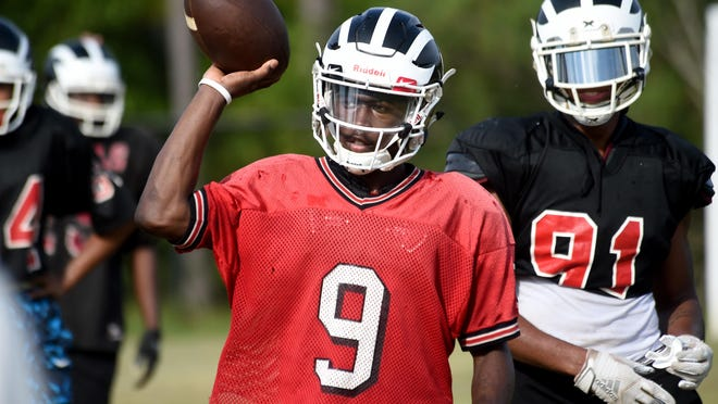 Hephzibah quarterback Marshall Chambers on the first day of padded practice at Hephzibah High School in Hephzibah, Ga., Thursday afternoon August 1, 2019.