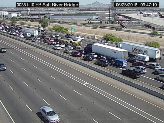 A crash closed the westbound lanes of Interstate 10 at Interstate 17