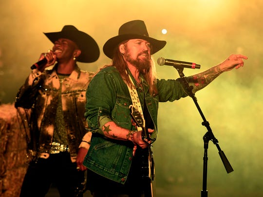 Lil Nas X and Billy Ray Cyrus perform  during the 2019 Stagecoach Festival at Empire Polo Field on April 28, 2019 in Indio, Calif.