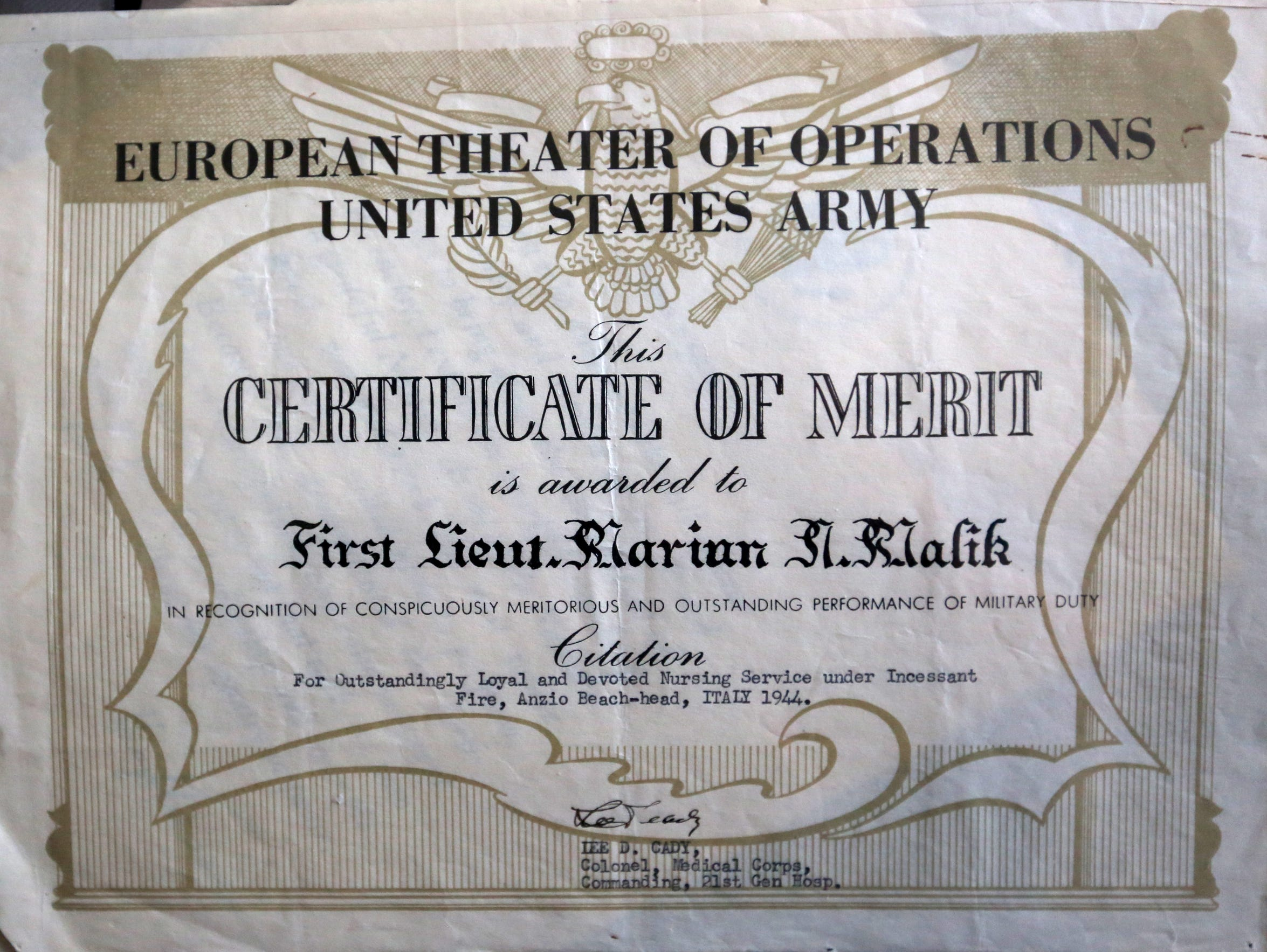 This is a commendation that First Lieutenant Marian