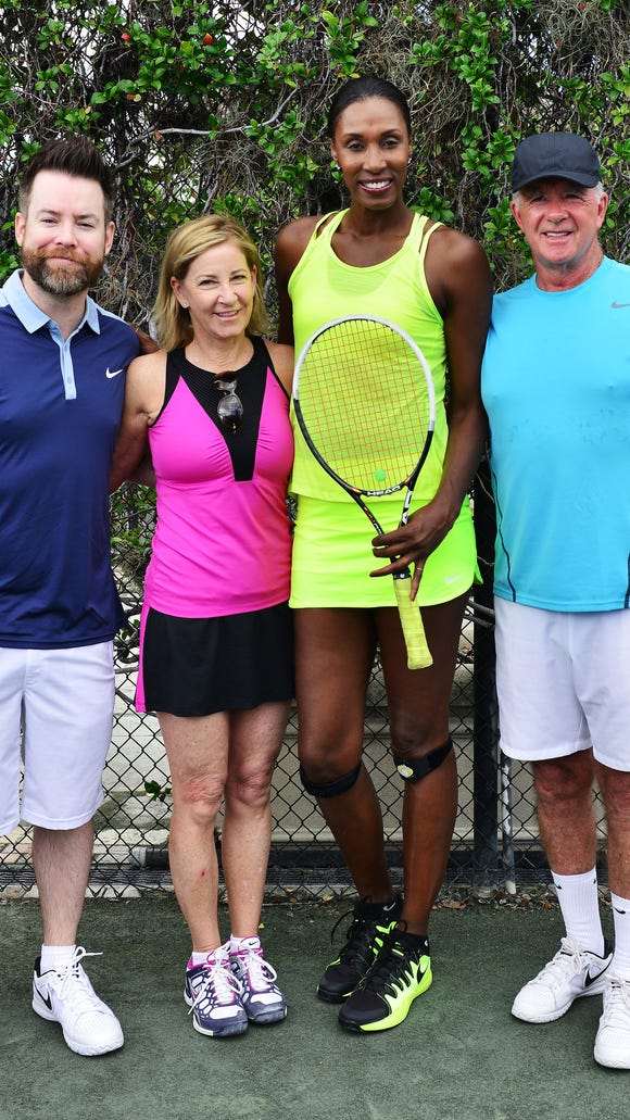 David Cook, Chris Evert, Lisa Leslie and Alan Thicke participate in 2016 Chris Evert/Raymond James Pro-Celebrity Tennis Classic at Boca Raton Resort on November 18, 2016 in Boca Raton, Florida. (Photo by Johnny Louis/FilmMagic)