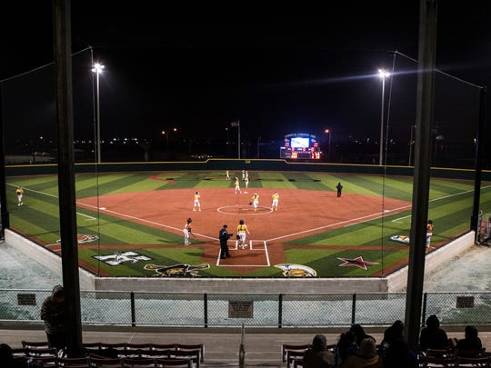 Moody and Beeville play the first game on the new Cabaniss Softball Field on Monday, Feb. 12, 2018.