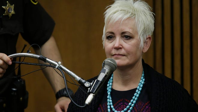 Janet Leehmann of Oregon takes the stand. The trial of Bob Bashara, accused of having his wife killed in January 2012, takes place in the Wayne County Circuit Courtroom of Judge Vonda Evans Wed. Oct. 22, 2014. Mandi Wright/Detroit Free Press