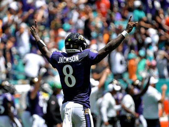 Lamar Jackson had a lot to celebrate Sunday in Miami.