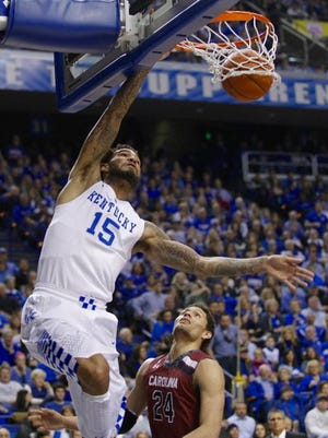 Willie Cauley Stein hit 6 of his 10 shots Saturday against South Carolina, including this dunk on a feed from Tyler Ulis.