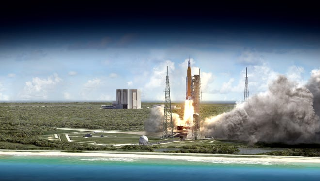 Artist rendering showing a wide-angle view of the liftoff of the 70-metric-ton (77-ton) Space Launch System rocket and Orion crew vehicle blasting off from Kennedy Space Center.