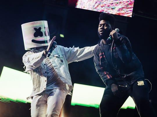 Sun City Music Festival headliner Marshmello, at left,