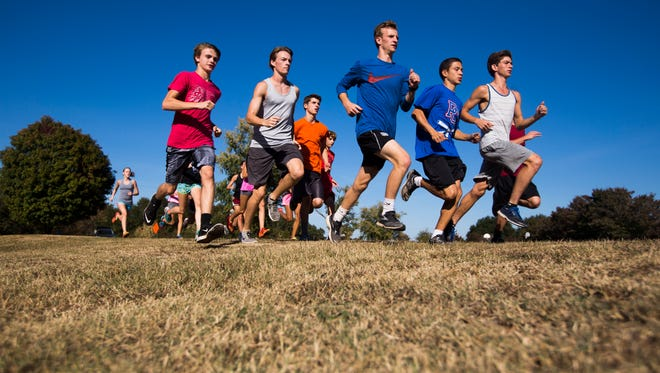 Senior Harrison Grant, center, runs with his team at the Palmetto High School cross country practice on Tuesday, October 25, 2016 in Williamston.