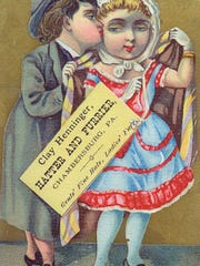 "Clay Henninger's trade cards promoted his status as the ""top hatter"" in the area."