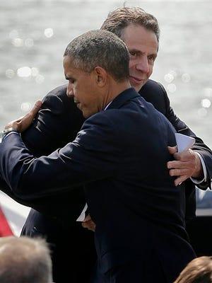 A file photo of New York Gov. Andrew Cuomo and President Barack Obama