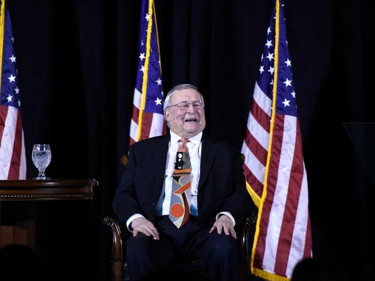 Oakland County Executive L. Brooks Patterson laughs with the audience at a joke during the annual State of the County address on Feb. 8, 2017 at the Auburn Hills Marriott Pontiac in Pontiac.